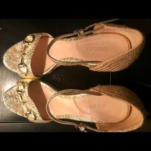 Gucci Gold Metallic Platform Espadrille Wedge Shoe